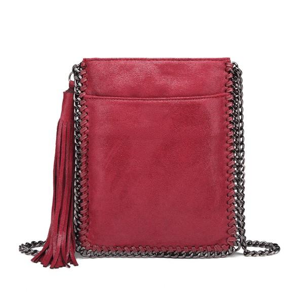 E6845 - Miss Lulu Leather Look Chain Shoulder Bag with Tassel Pendant - Burgundy