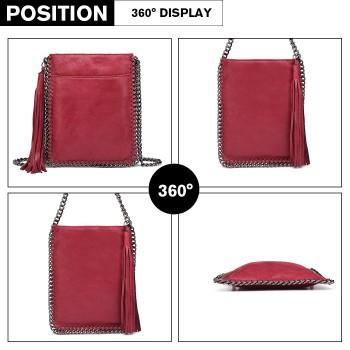 E6845-MISS LULU PU LEATHER CHAIN SHOULDER BAG WITH TASSEL ORNAMENT BURGUNDY
