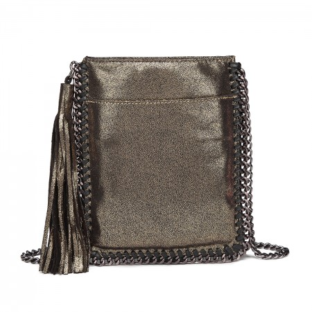 E6845-MISS LULU PU LEATHER CHAIN SHOULDER BAG WITH TASSEL ORNAMENT GOLD