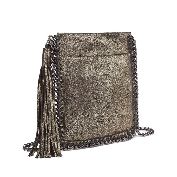 E6845 - Miss Lulu Leather Look Chain Shoulder Bag with Tassel Pendant - Gold