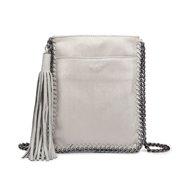 E6845 - Miss Lulu Leather Look Chain Shoulder Bag with Tassel Pendant - Grey
