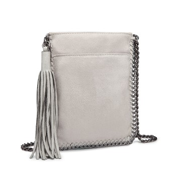 E6845-MISS LULU PU LEATHER CHAIN SHOULDER BAG WITH TASSEL ORNAMENT GREY