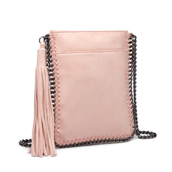 E6845-MISS LULU PU LEATHER CHAIN SHOULDER BAG WITH TASSEL ORNAMENT PINK