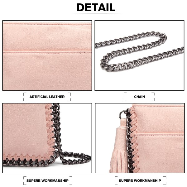 E6845 - Miss Lulu Leather Look Chain Shoulder Bag with Tassel Pendant - Pink