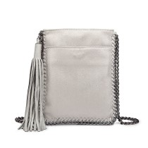 E6845-MISS LULU PU LEATHER CHAIN SHOULDER BAG WITH TASSEL ORNAMENT SILVER
