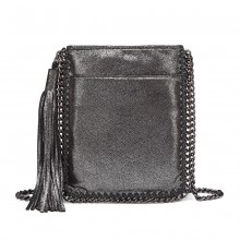 E6845 - Miss Lulu Leather Look Chain Shoulder Bag with Tassel Pendant - Silver