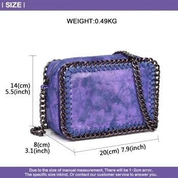 E6846 - METALLIC LEATHER LOOK CHAIN SHOULDER BAG BLUE