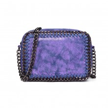 E6846 - Miss Lulu Metallic Effect Leather Look Chain Shoulder Bag - Blue