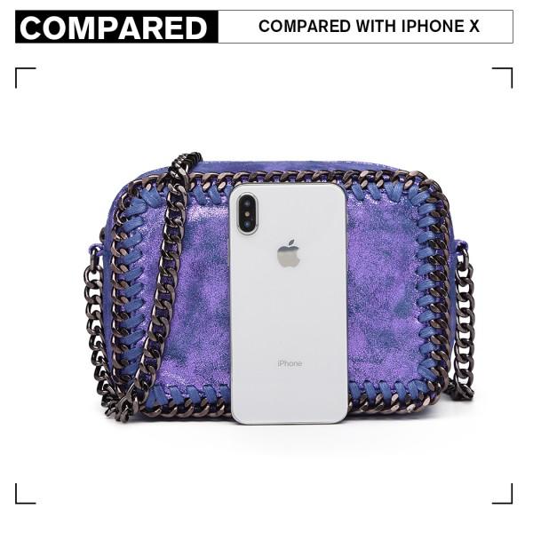 E6846 - Miss Lulu Metallic Effect Leather Look Chain Shoulder Bag - Blue