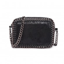E6846 - Miss Lulu Metallic Effect Leather Look Chain Shoulder Bag - Black