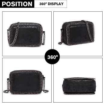 E6846 - METALLIC LEATHER LOOK CHAIN SHOULDER BAG BLACK