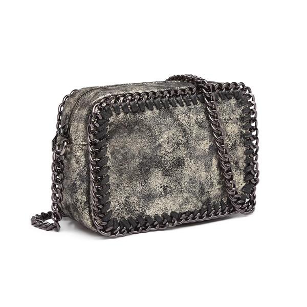 E6846 - Miss Lulu Metallic Effect Leather Look Chain Shoulder Bag - Gold
