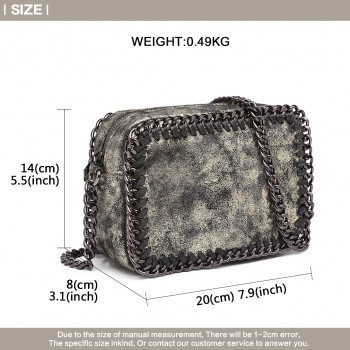 E6846 - METALLIC LEATHER LOOK CHAIN SHOULDER BAG GOLD