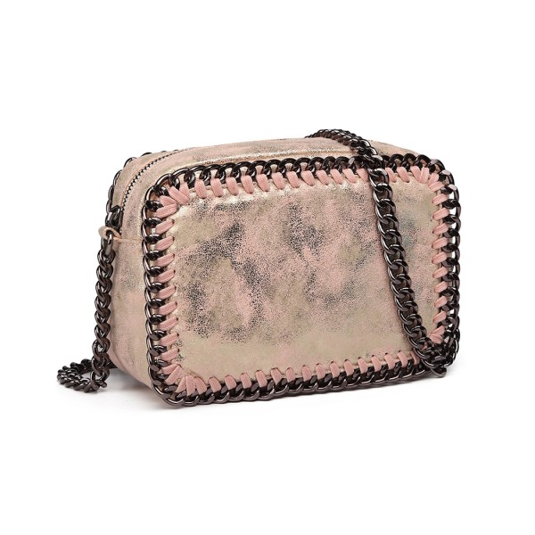 E6846 - Miss Lulu Metallic Effect Leather Look Chain Shoulder Bag - Pink