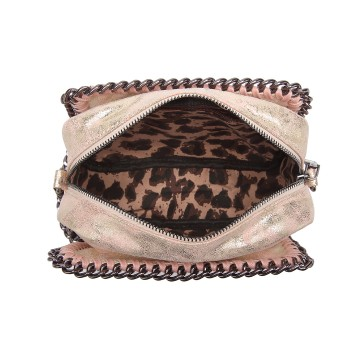 E6846 - METALLIC LEATHER LOOK CHAIN SHOULDER BAG PINK