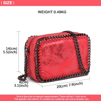 E6846 - METALLIC LEATHER LOOK CHAIN SHOULDER BAG RED