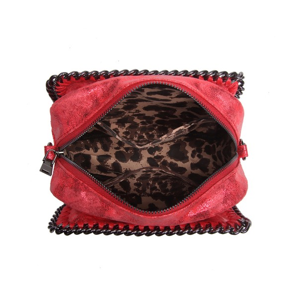 E6846 - Miss Lulu Metallic Effect Leather Look Chain Shoulder Bag - Red