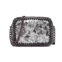 E6846 - METALLIC LEATHER LOOK CHAIN SHOULDER BAG SILVER