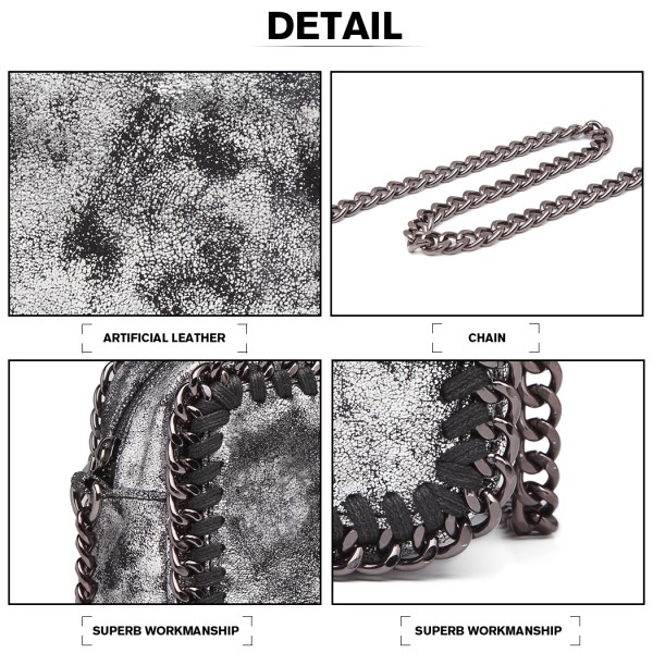 E6846 - Miss Lulu Metallic Effect Leather Look Chain Shoulder Bag - Silver