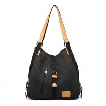 E6850 - Kono Canvas Hobo Slouch Shoulder Bag and Backpack Hybrid - Black