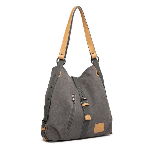 E6850 - Kono Canvas Hobo Slouch Shoulder Bag and Backpack Hybrid - Grey