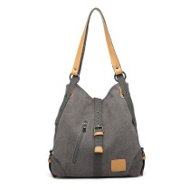 BOLSO DURABLE E6850-KONO MOCHILA HOBO CON CORREAS DE NYLON PERFORADAS GRIS