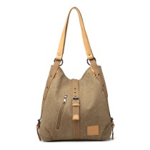 BOLSO DURABLE E6850-KONO MOCHILA HOBO CON CORREAS DE NYLON PERFORADAS KHAKI