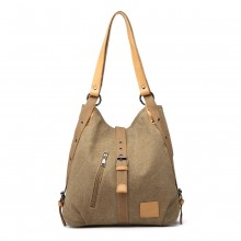 E6850 - Kono Canvas Hobo Slouch Shoulder Bag and Backpack Hybrid - Khaki