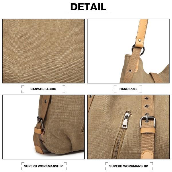 E6850 - Kono Canvas Hobo Slouch Shoulder Bag and Backpack Hybrid - Khaki