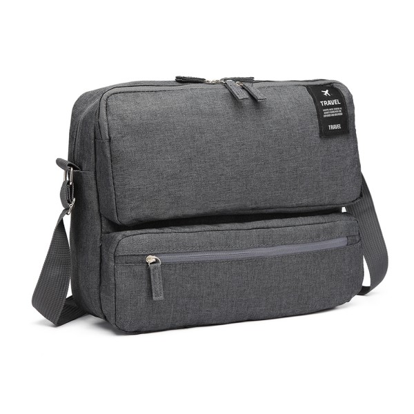 E6851 - Kono Multi Compartment Travel Shoulder Bag - Grey