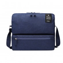 E6851 - Kono Multi Compartment Travel Shoulder Bag - Navy