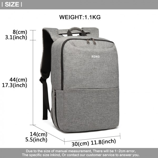 E6868-KONO UNISEX MULTI-PURPOSE BACKPACK WITH USB CHARGING PORT GREY