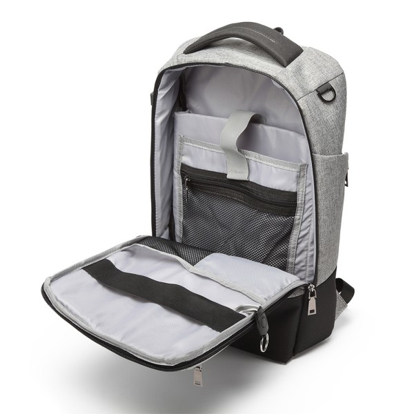 E6869-KONO POLYESTER BACKPACK WITH USB CHARGING PORT RUCKSACK GREY