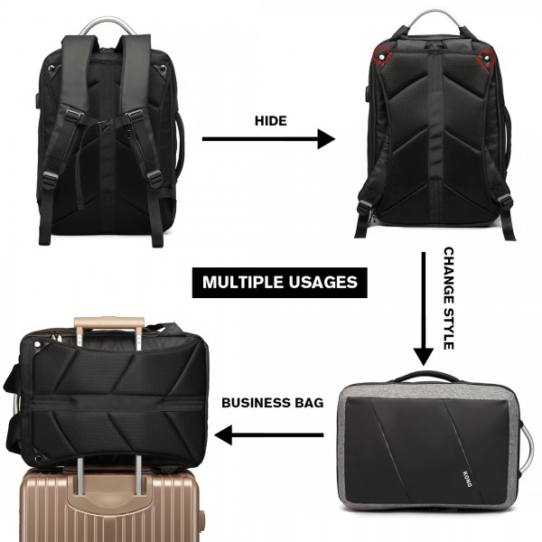 E6870 - KONO WATERPROOF BUSINESS BACKPACK WITH USB CHARGING PORT BLACK