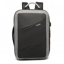 E6870-KONO SAC À MAIN D'AFFAIRES POLYESTER AVEC PORT DE CHARGE USB NOIR