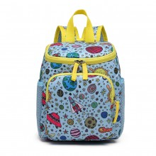 E6873 - KONO CHILDREN'S PATTERN BACKPACK WITH REINS BLUE