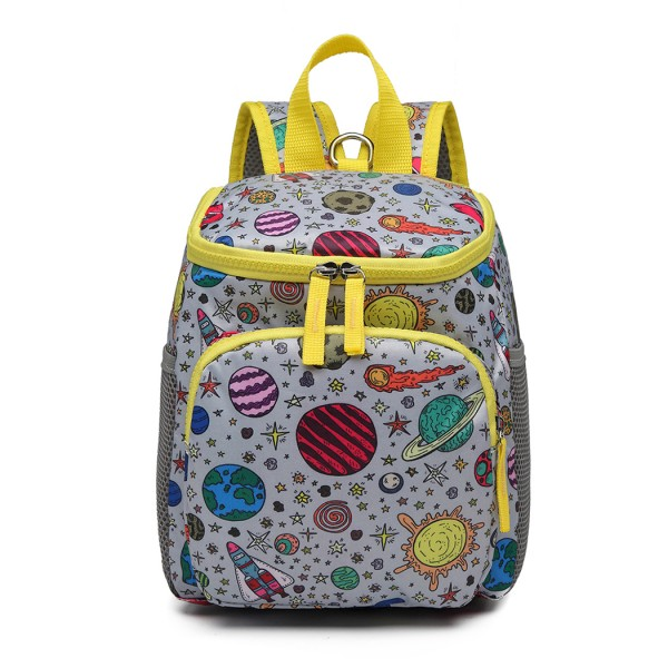 E6873 - KONO CHILDREN'S PATTERN BACKPACK WITH REINS GREY