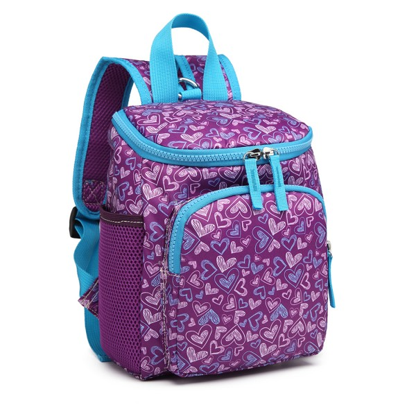 E6873 - KONO CHILDREN'S PATTERN BACKPACK WITH REINS PURPLE