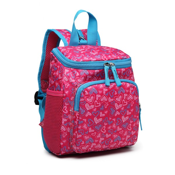 E6873 - KONO CHILDREN'S PATTERN BACKPACK WITH REINS PINK