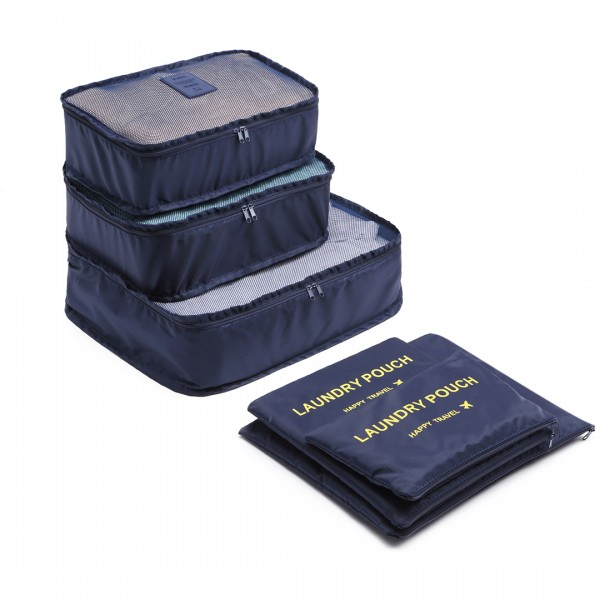 E6874-1 - Miss Lulu 6 Piece Polyester Travel Luggage Organiser Bag Set - Navy