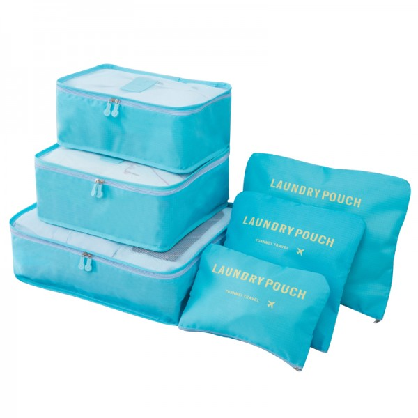 E6874 - Miss Lulu 6 Piece Polyester Travel Luggage Organiser Bag Set - Blue