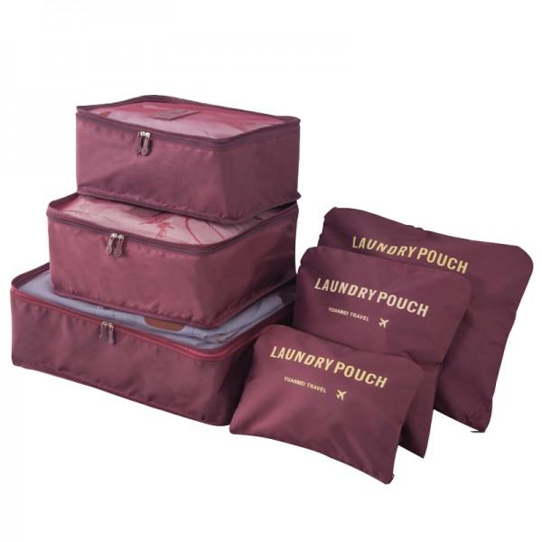 E6874 - Miss Lulu 6 Piece Polyester Travel Luggage Organiser Bag Set - Burgundy