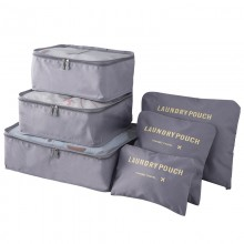 E6874 - Miss Lulu 6 Piece Polyester Travel Luggage Organiser Bag Set - Grey