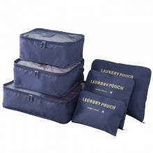 E6874 - Miss Lulu 6 Piece Polyester Travel Luggage Organiser Bag Set - Navy