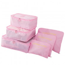 E6874 - Miss Lulu 6 Piece Polyester Travel Luggage Organiser Bag Set - Pink