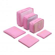 E6874 - Miss Lulu 6 Piece Polyester Travel Luggage Organiser Bag Set - Pink