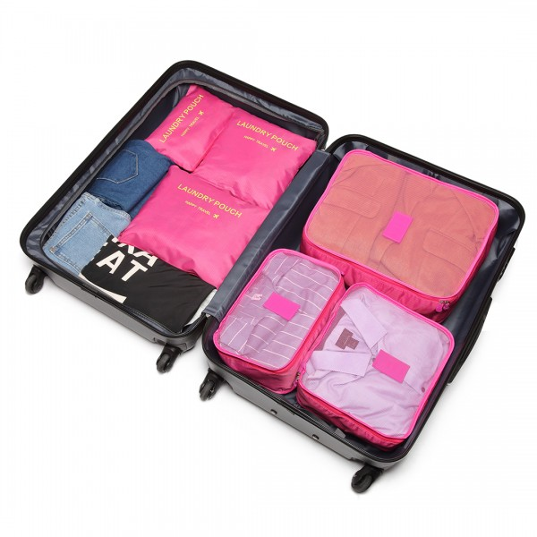 E6874 - Miss Lulu 6 Piece Polyester Travel Luggage Organiser Bag Set - Plum