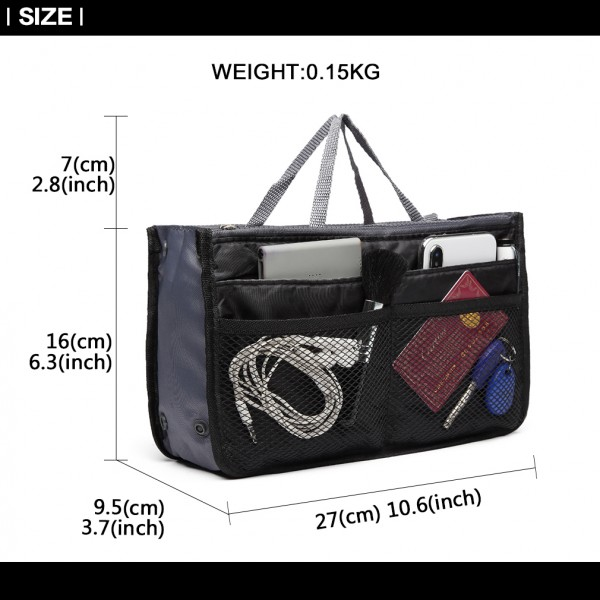 E6876 - Miss Lulu Folding Nylon Handbag Organiser - Black
