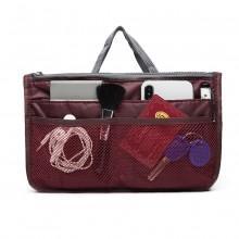 E6876 - Miss Lulu Folding Nylon Handbag Organiser - Burgundy