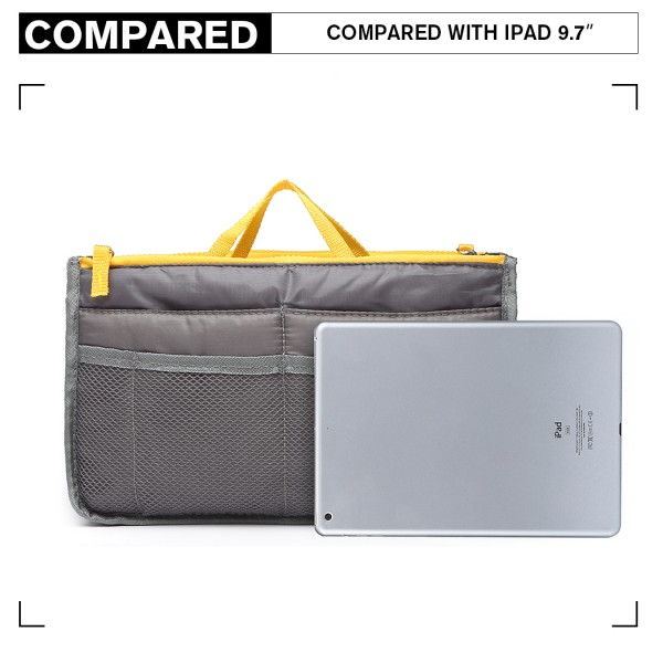 E6876 - Miss Lulu Folding Nylon Handbag Organiser - Grey